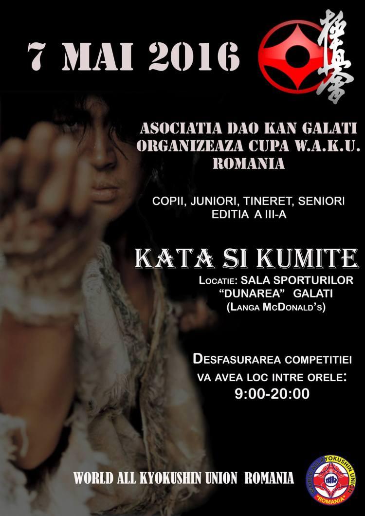 2. Afis Cupa W.A.K.U. ROMANIA - Editia 3 - 7 MAI 2016 Galati