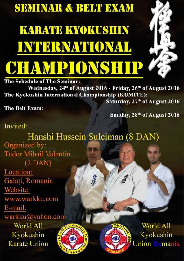 Invitation Romania- Karate Kyokushin International Championship, Seminar & Belt Exam